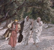 disciples on the road to emmaus - Tissot