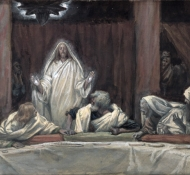 he appeared to the eleven as they sat at meat - Tissot